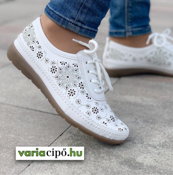 Remonte fehér női félcipő vágott mintával - D1934