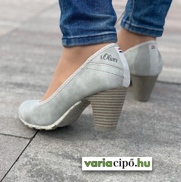 S.Oliver szürke női magassarkú cipő - 5-22404-26 210 lt. grey