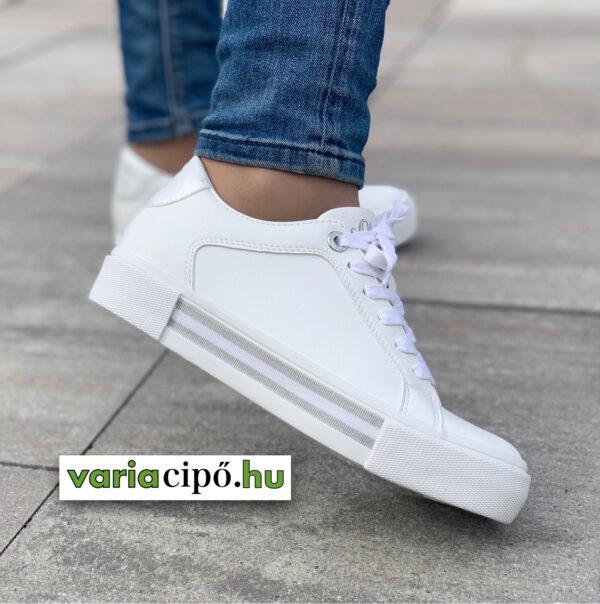 S.Oliver sportos női utcai cipő, fehér, 5-23619-26 193