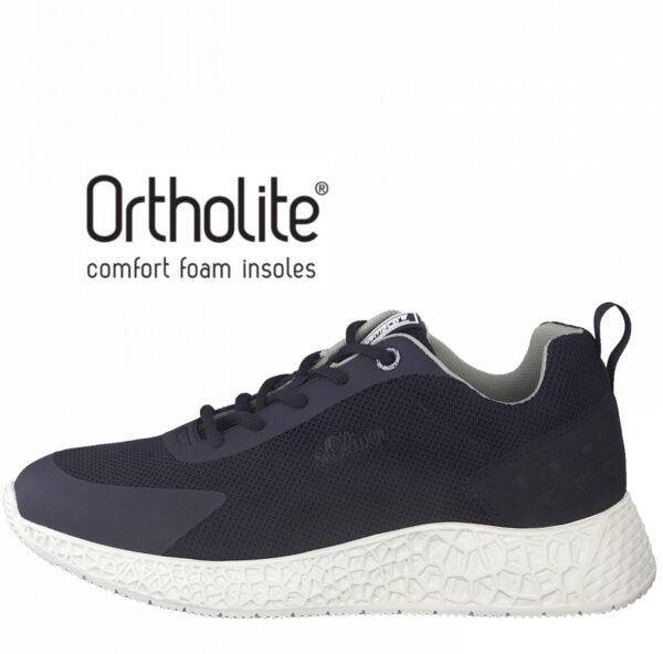 S.Oliver kék utcai sportcipő, 5-13622-26 805, Ortholite talpbetéttel