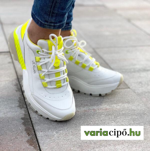 S.Oliver fehér utcai sportcipő neonsárga díszítéssel. 5-23633-34 166 white/yellow