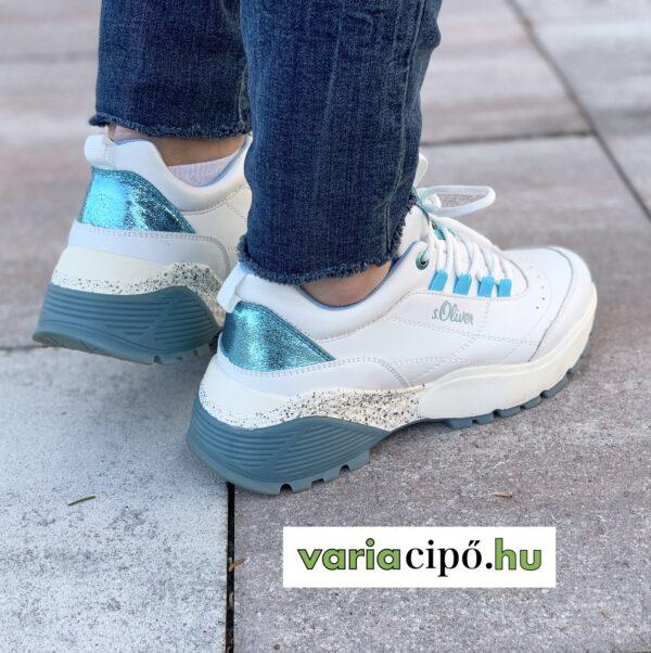 S.Oliver fehér utcai sportcipő neonkék díszítéssel. 5-23633-34 186 white/aqua