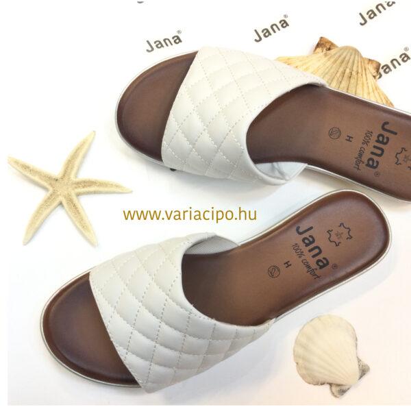 Jana fehér női utcai bőr papucs lapos talpon - 8-27106-100-white
