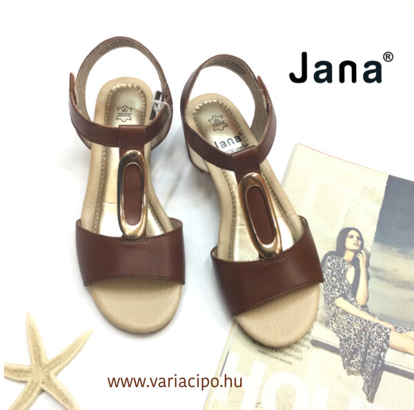 Jana klasszikus kockasarkú bőr szandál sötétbarna - 8-28322-26-362