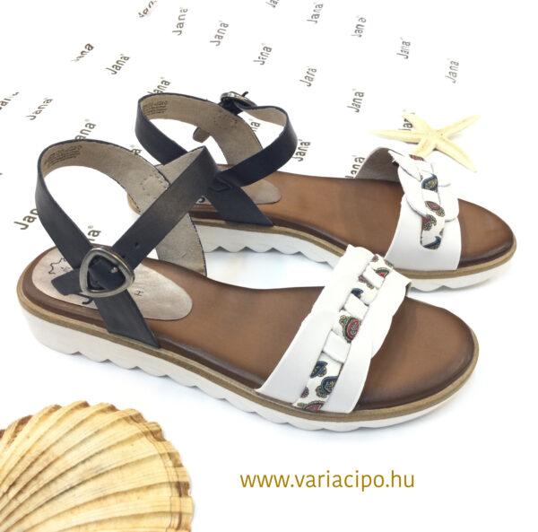 Jana kék-fehér lapos talpú bőr szandál 8-28602-26-navy