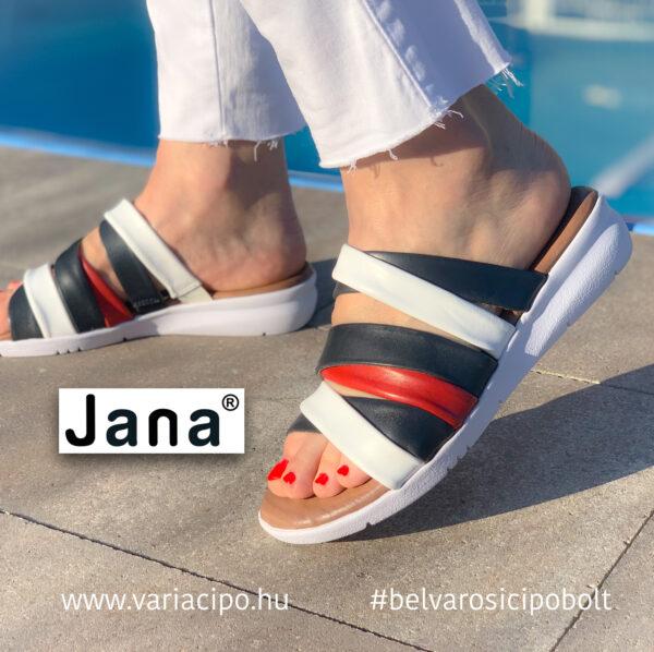 Jana bőr pántos utcai papucs, 8-27105-26-890-navy-comb