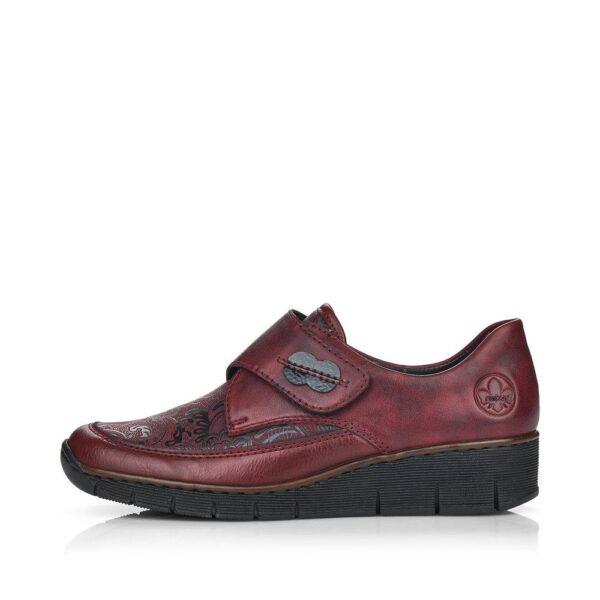 Rieker női utcai félcipő, tépőzáras pánttal, 537C0-35 red