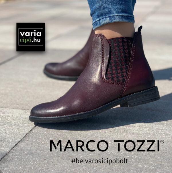 Marco Tozzi chelsea típusú bokacsizma, 2-25366-27-507, bordó