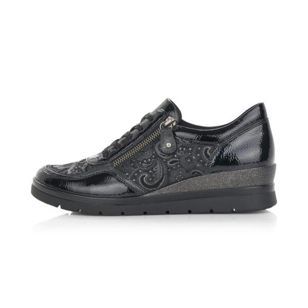 Remonte emelt sarkú, fűzős átmeneti cipő, kényelmi talpbetéttel, r0701-03 fekete