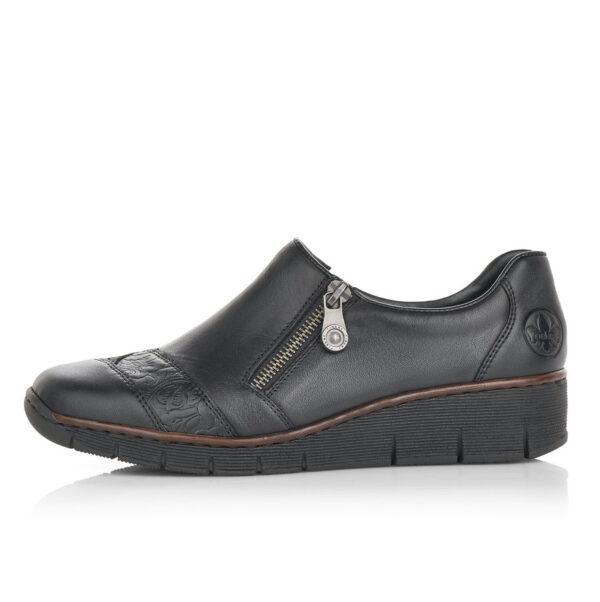 Rieker női félcipő, zippzáros, fekete, emelt sarkon. 53761-00