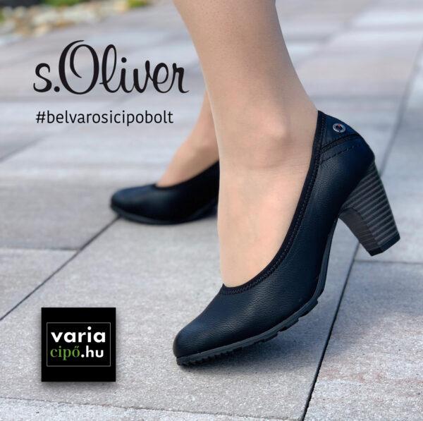 s.Oliver sportos, magassarkú félcipő, 5-22404-27-001, fekete szín