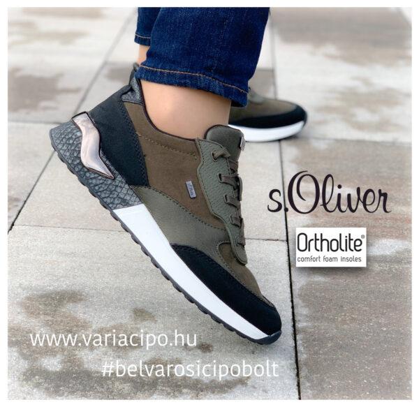 s.Oliver női utcai sportcipő oliva színben, 5-23606-37-727