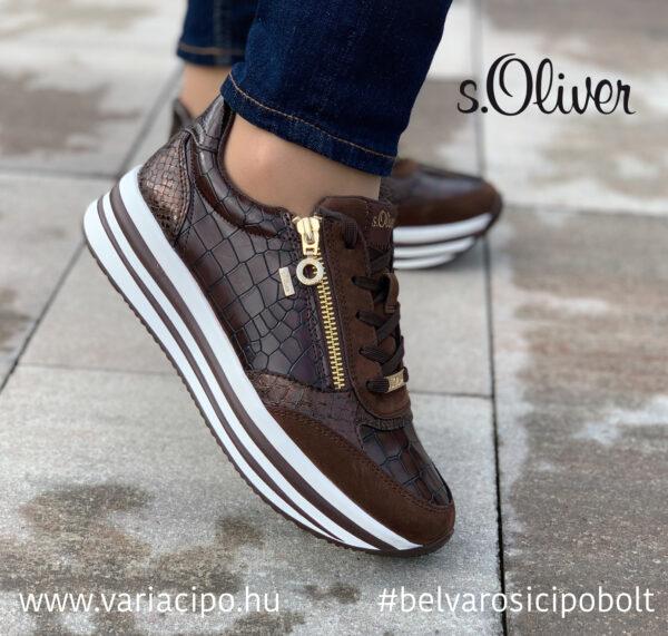 s.Oliver platformos utcai sportcipő, 5-23624-37-304, barna
