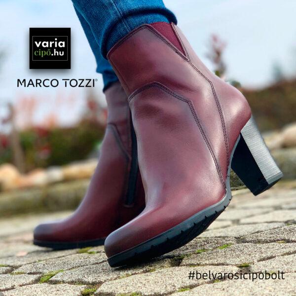 Marco Tozzi magassakú, bőr bokacsizma, 2-25372-25-507-bordó