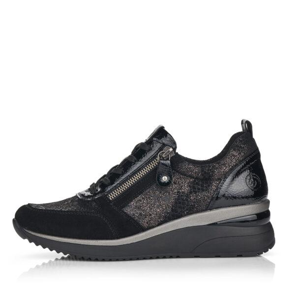 Remonte sportos utcai cipő emelt sarokkal, D2401-02, fekete