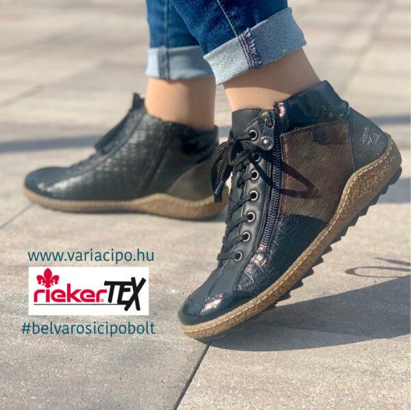 Rieker tex női bokacipő, fekete-bronz, L7541-00
