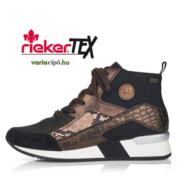 Rieker tex női bokacipő, fekete-bronz, N7610-00