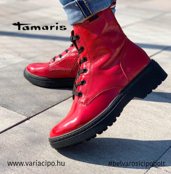Tamaris piros lakk bakancs, 1-25252-27-520-red